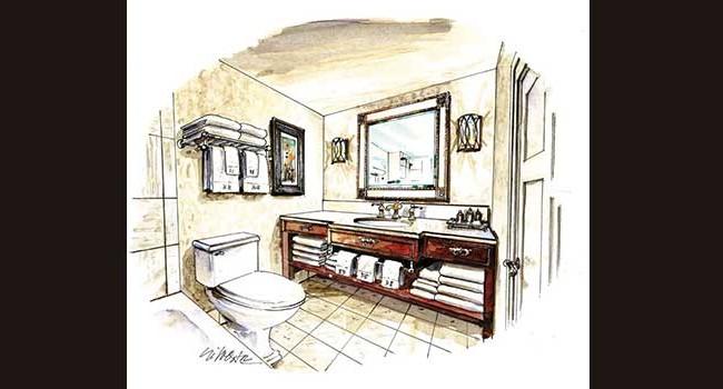 The Hotel Hershey Bathroom Rendering
