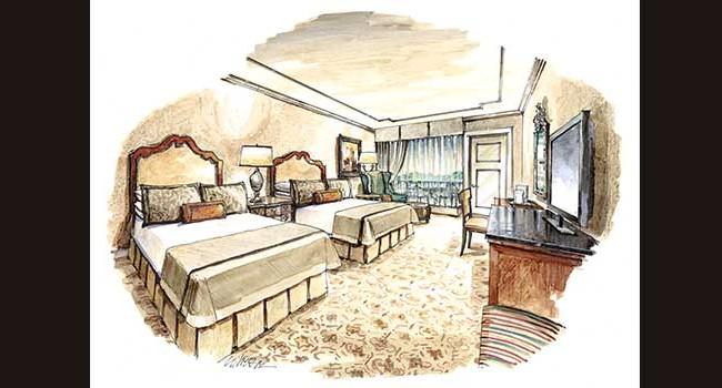 The Hotel Hershey Guestroom Queens Rendering